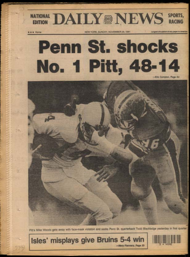 NY DAILY NEWS 11/29 1981 Penn St over Pitt; topless bars; Bruins win; H Fonda