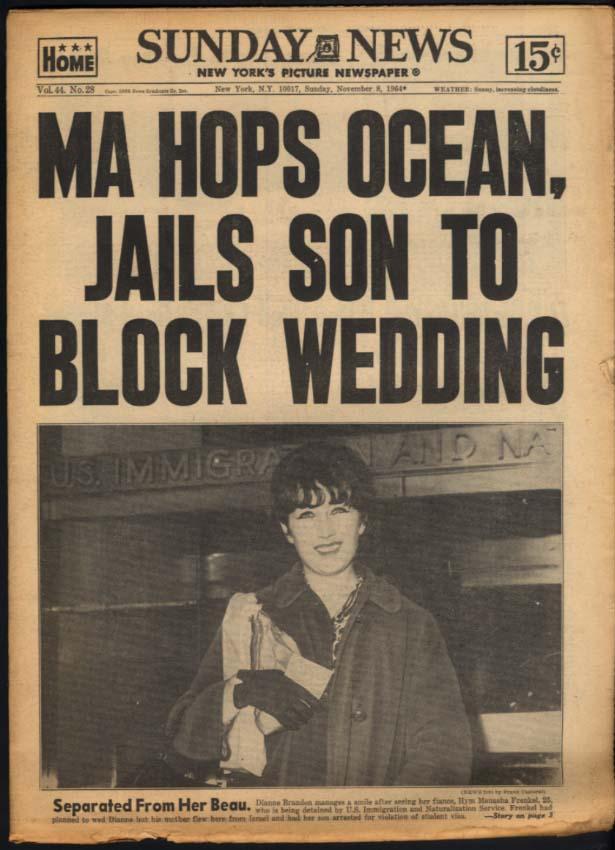 NY SUNDAY NEWS 11/8 1964 Israeli mom block son's US wedding; Syracuse & ND win