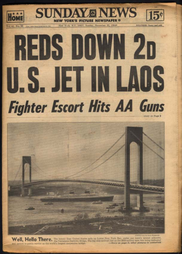 NY SUNDAY NEWS 11/22 1964 Reds down US jet in Laos; Michigan to Rose Bowl
