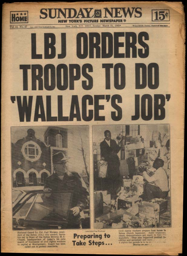 Image for NY SUNDAY NEWS 3/21 1965 LBJ sends troops to do Wallace's Job; St John's wins