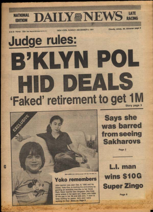 NY DAILY NEWS 12/6 1981 Yoko Ono recalls; Sakharovs; GA beats Tech