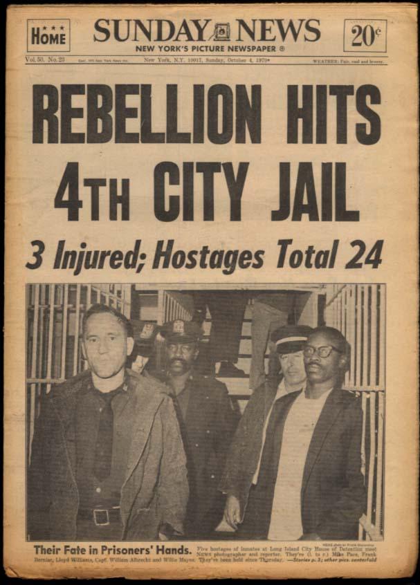 NY SUNDAY NEWS 10/4 1970 City Jail Revolt; Reds beat Bucs; Army loses