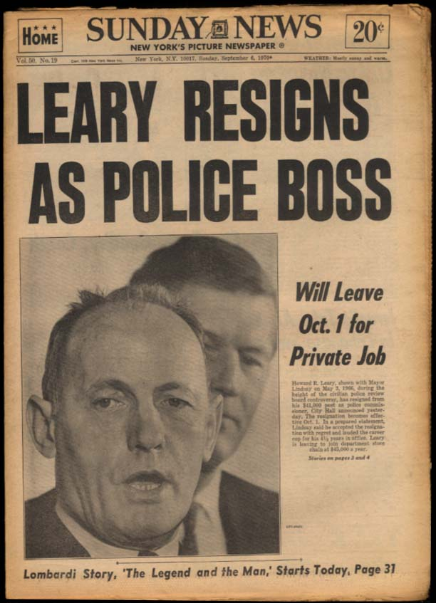NY SUNDAY NEWS 9/6 1970 Top Cop Leary quits; Mets, Yanks win; Lombardi dies