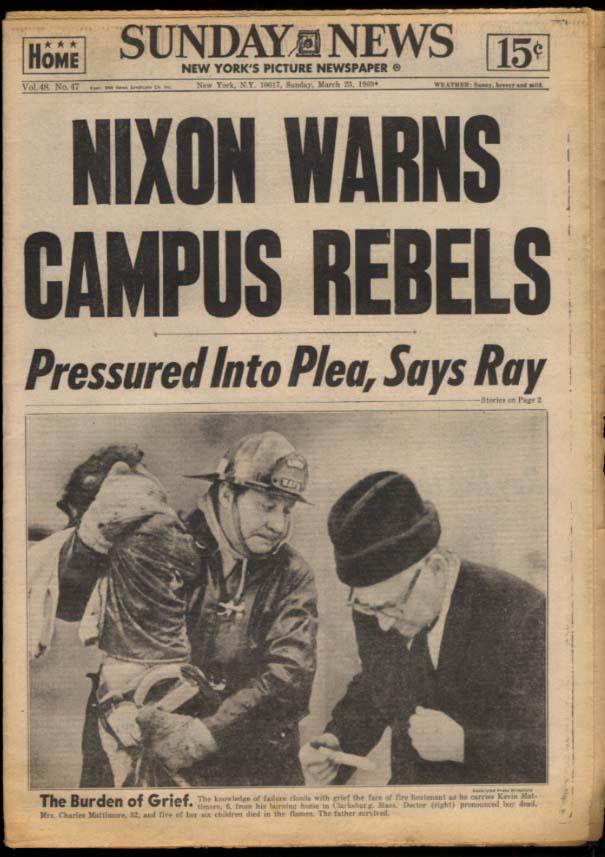 NY SUNDAY NEWS 3/23 1969 Nixon warns Campus Rebs; Temple wins; James Earl Ray