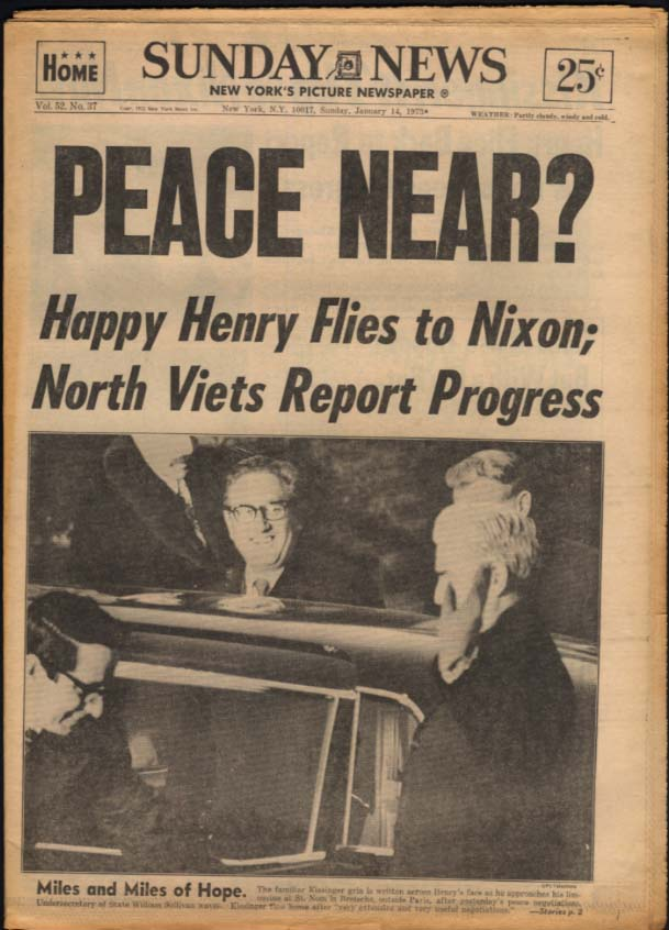 Image for NY SUNDAY NEWS 1/14 1973 Vietnam Peace Near? Redskins Super Bowl choice
