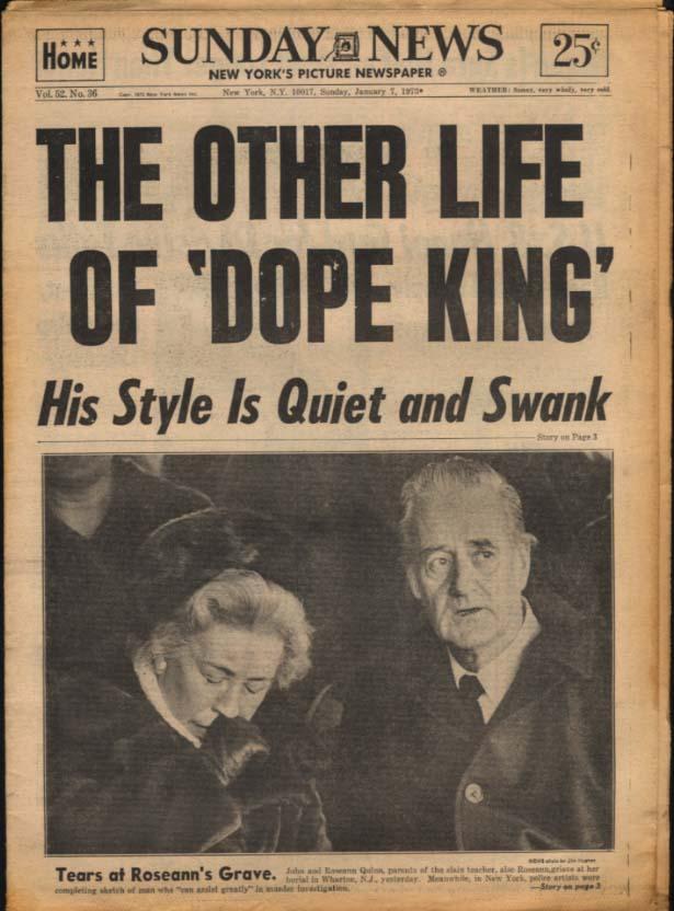 NY SUNDAY NEWS 1/7 1973 Dope King Frank Matthews; Rangers lose; Paterno says no