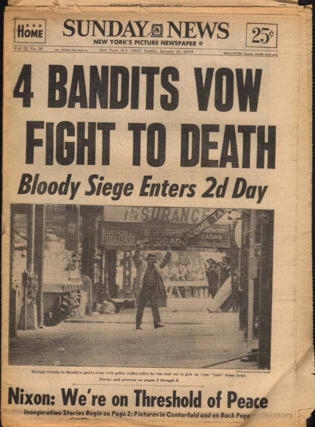 NY SUNDAY NEWS 1/21 1973 Nixon sworn Bandits siege in B'klyn; Rams over Peacocks