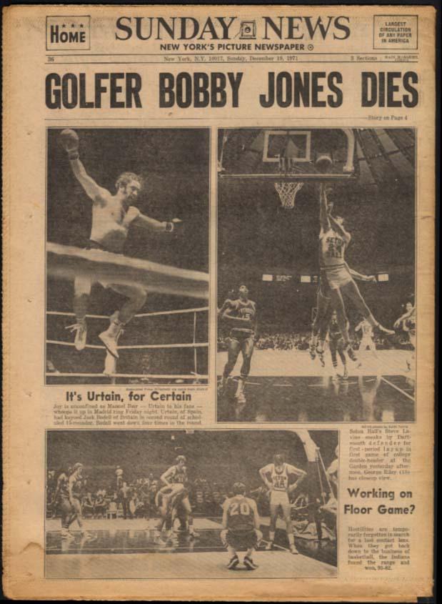 NY DAILY NEWS 12/19 1971 Fake janitors rob bank; Bobby Jones dies; Urtain wins