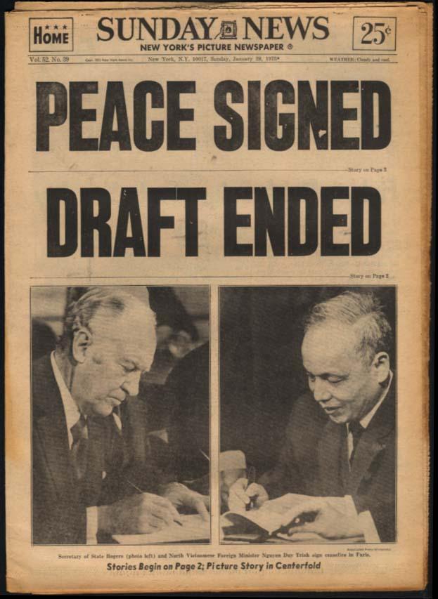 NY SUNDAY NEWS 1/28 1973 Vietnam Peace; Draft ended; Rangers, Army win