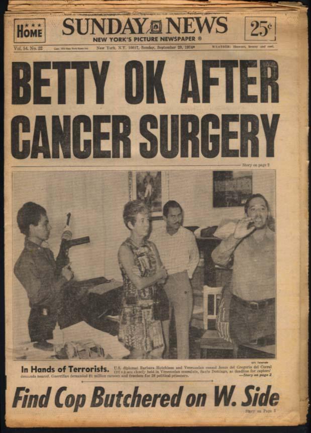 NY SUNDAY NEWS 9/29 1974 Betty Ford OK; Yanks win; SC downs Pitt