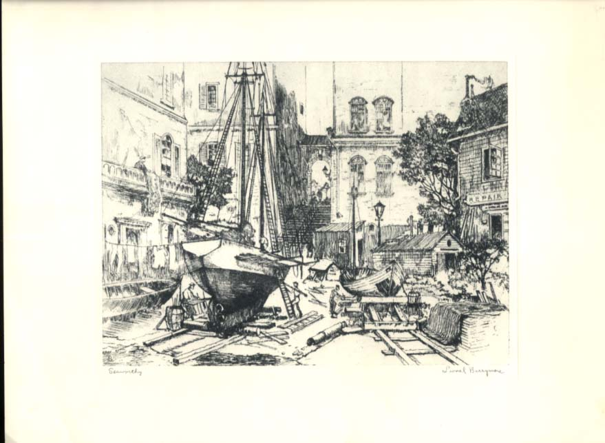 "Lionel Barrymore etching ""Seaworthy"" Talio-Chrome edition 1960s"