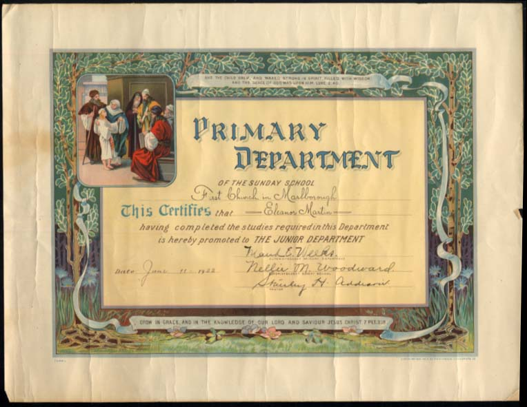 First Church of Marlborough CT Sunday School Primary Diploma 1922