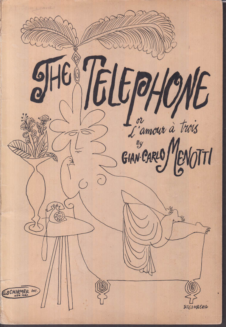Gian-Carlo Menotti: The Telephone score Steinberg art SIGNED by Byron Jones