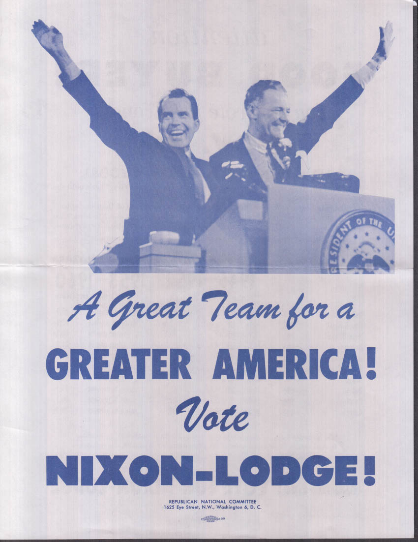 Nixon-Lodge for a Greater America flyer Let's Talk Butter & Eggs 1960