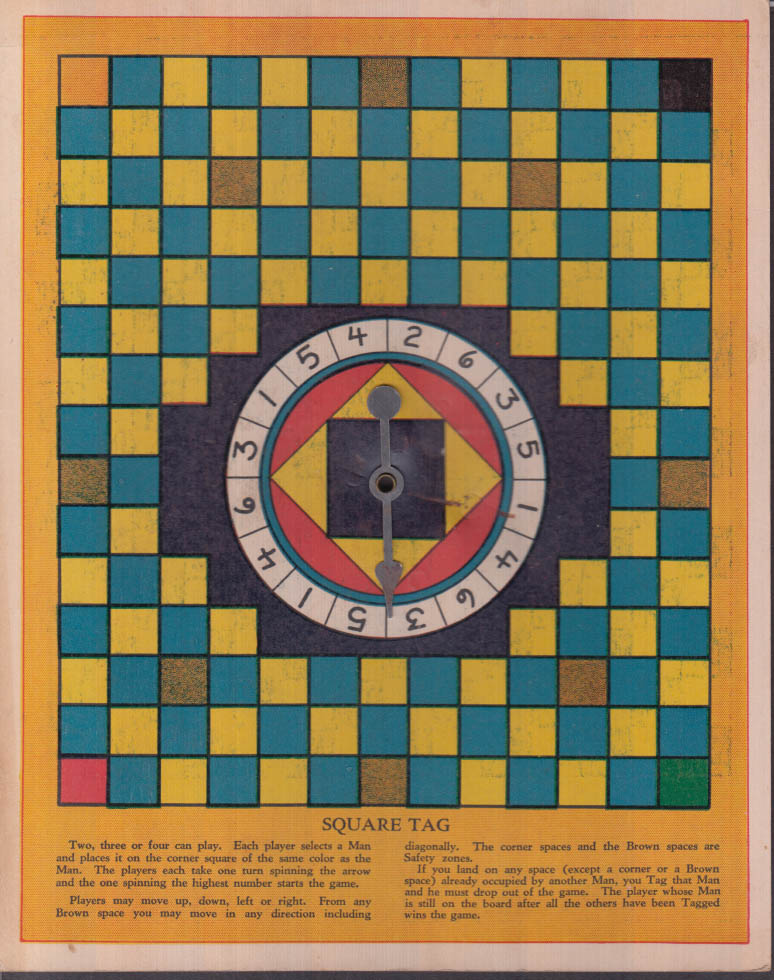 Keasbey cardboard game board Letter Chess / Square Tag ca 1930s