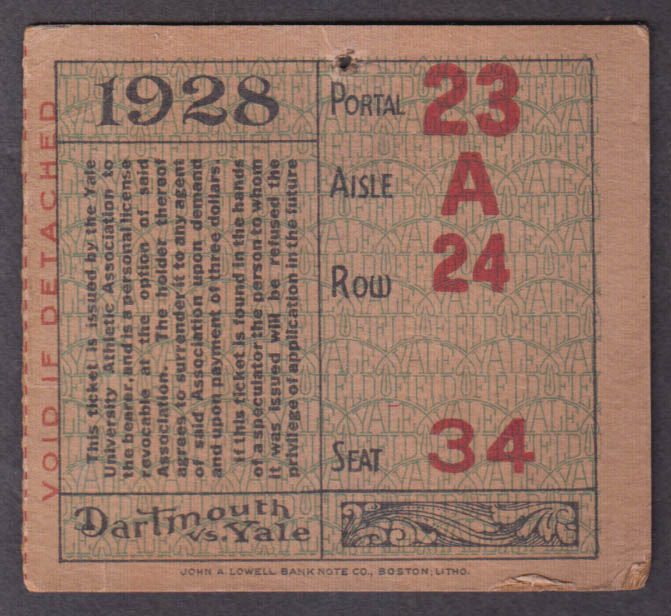 Dartmouth vs Yale College Football ticket stub 1928