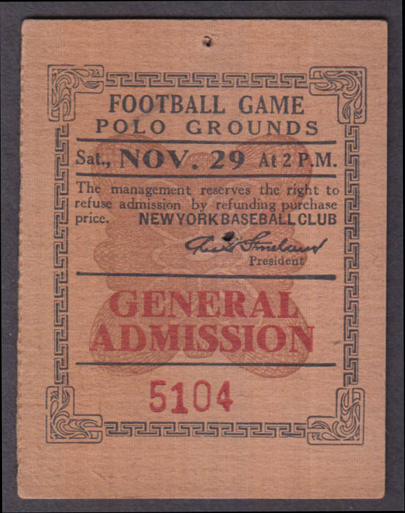New York Giants Football ticket stub Polo Grounds 11/29 no year, ca 1920s