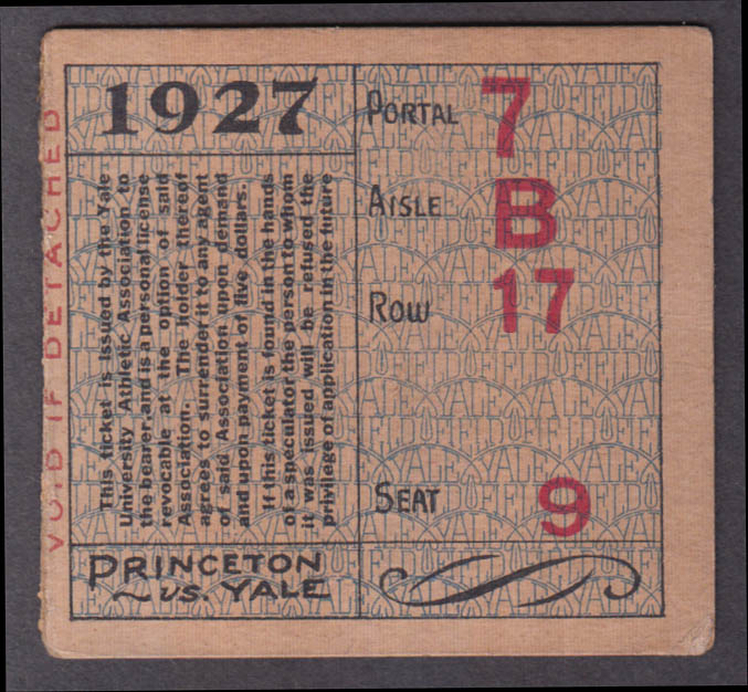 Princeton vs Yale College Football ticket stub 1927