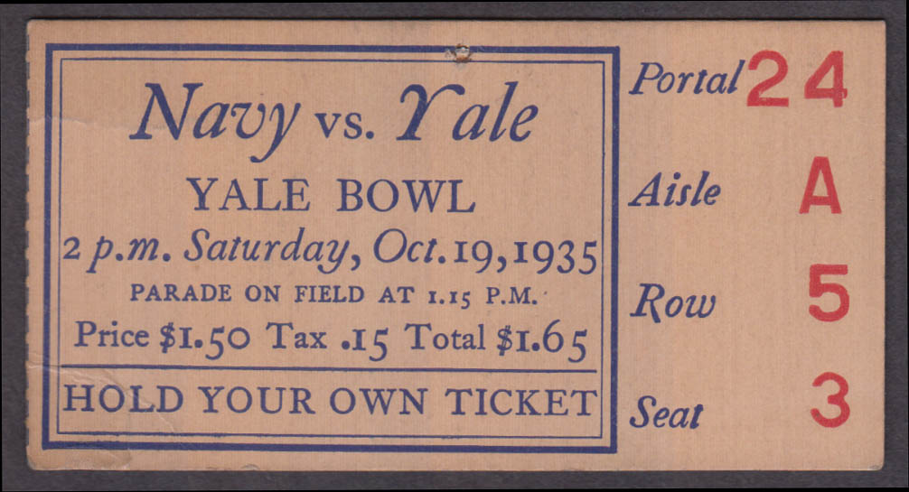 Navy vs Yale College Football ticket stub Yale Bowl 1935