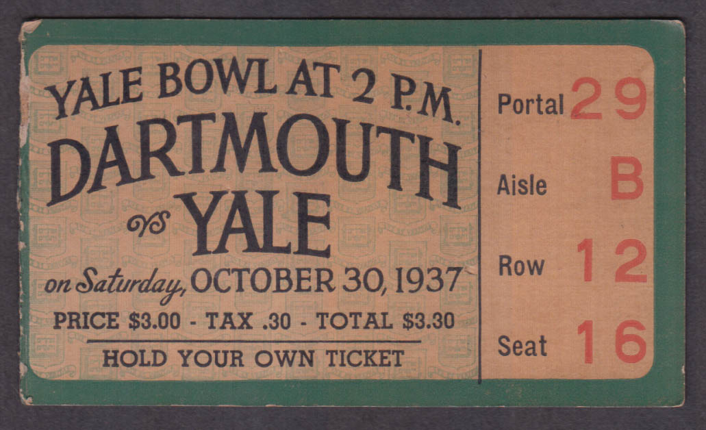 Dartmouth vs Yale college football ticket stub Yale Bowl 1937