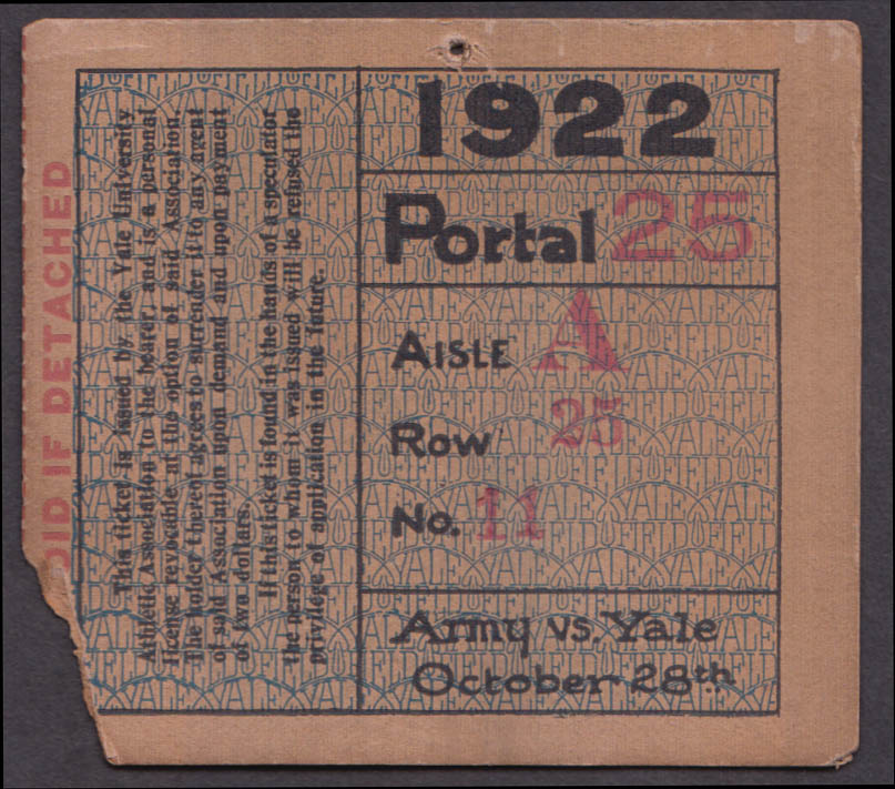 Army vs Yale College Footbal ticket stub 1922 Yale Bowl