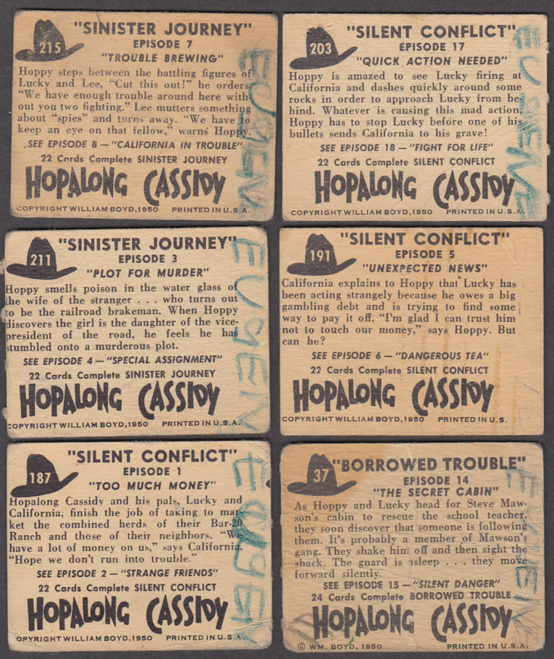 Group of SIX different Hopalong Cassidy TV tie-in trading cards 1950