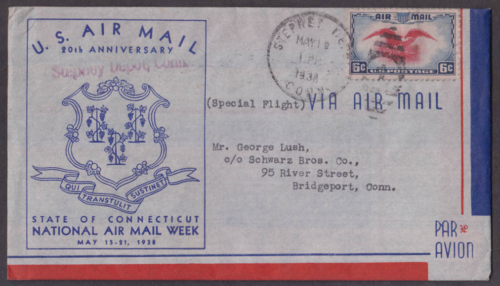 US Air Mail 20th Anniversary Stepney Depot CT cachet envelope 1938