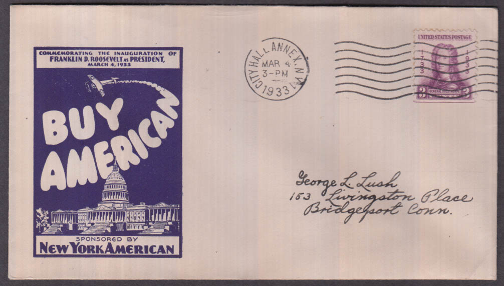 Franklin D Roosevelt Inauguration New York American cachet envelope 1933