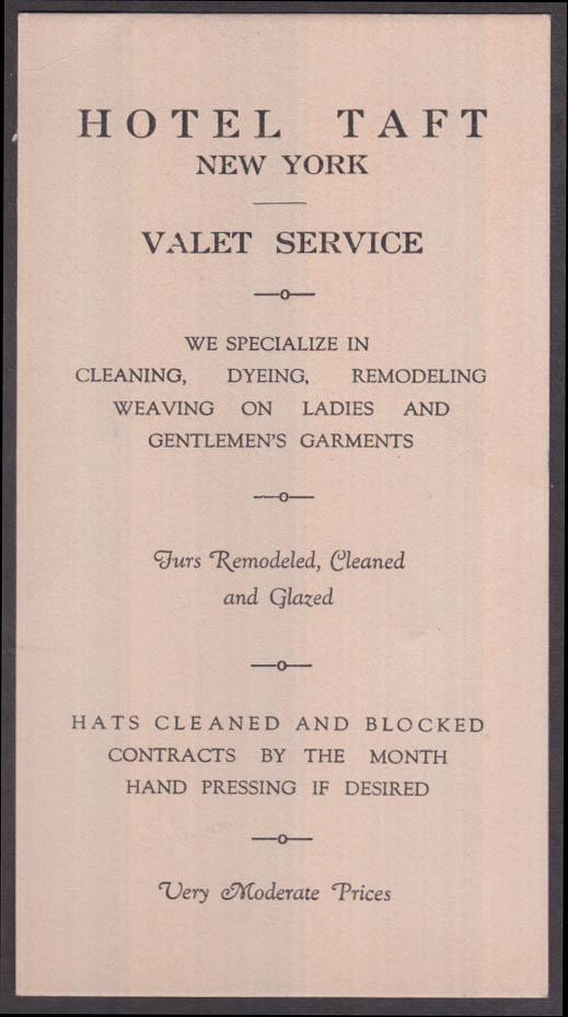 Hotel Taft Valet Service Card & blotter New York ca 1930s