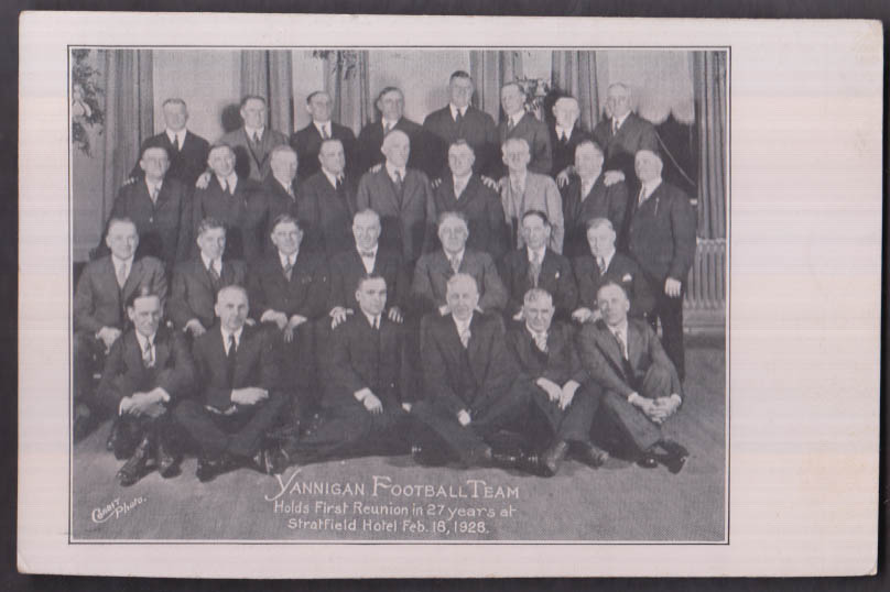 1901 Yannigan Football Team Reunion card 1928 Bridgeport CT Stratfield Hotel