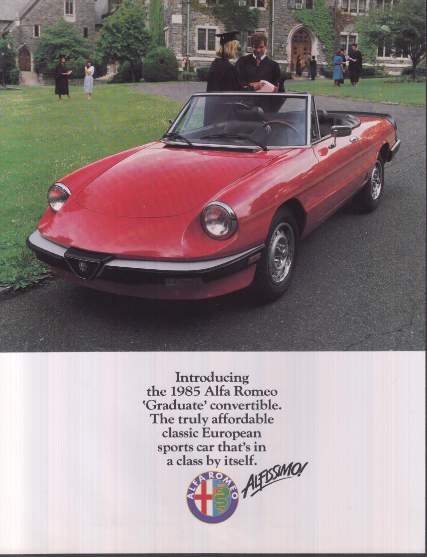 1985 Alfa-Romeo Graduate Convertible sell sheet
