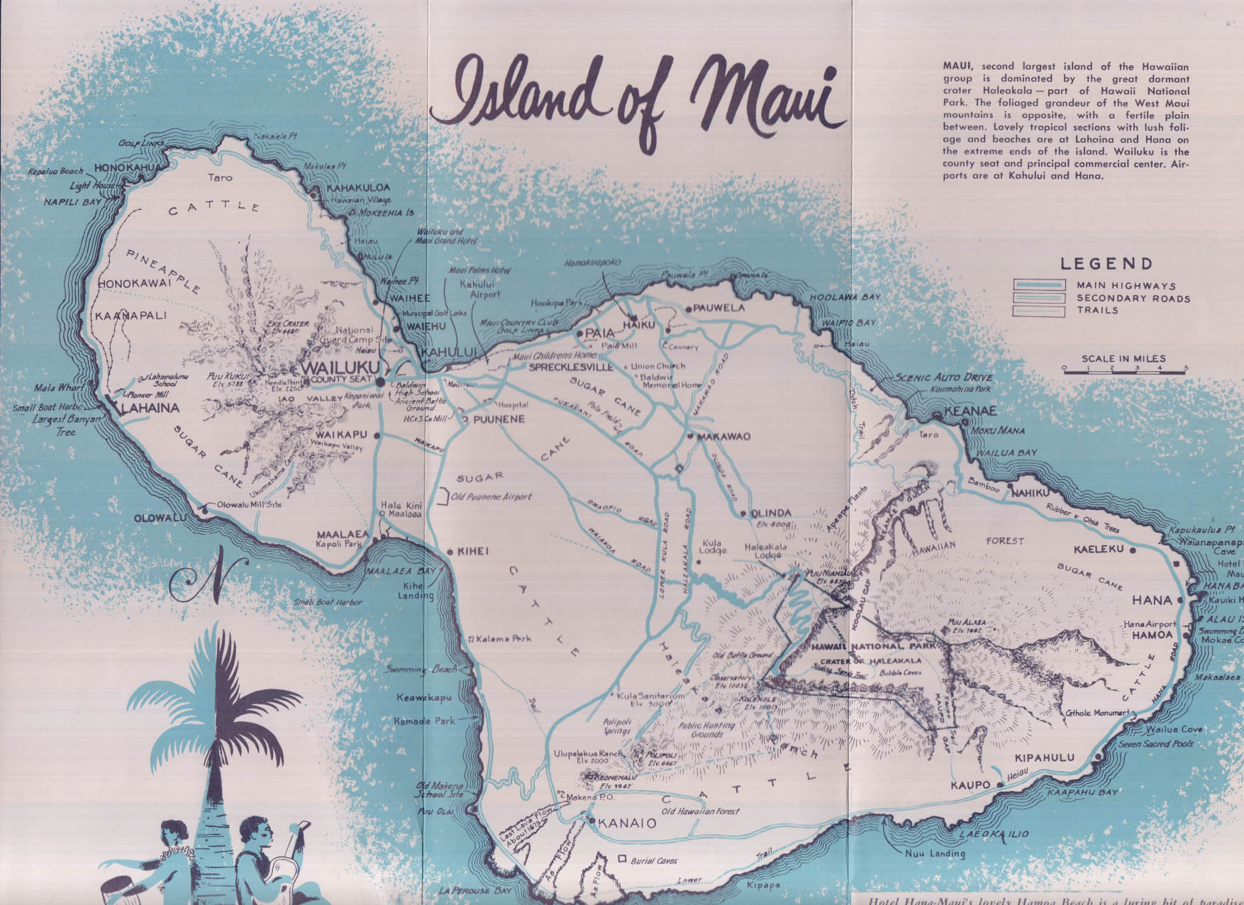 Maui: Valley Island in Hawaii tourist folder 1950s