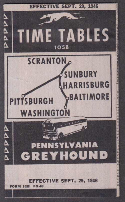 Pennsylvania Greyhound Scranton-Baltimore-Pittsburgh-DC timetables 1946