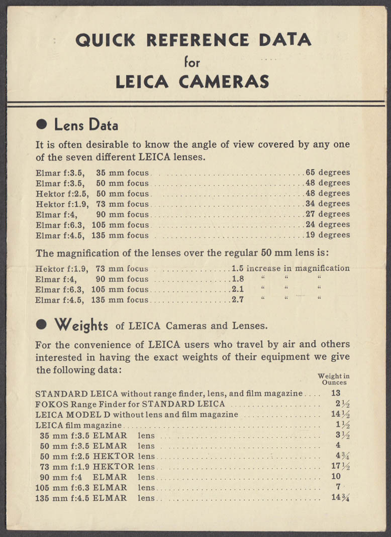 Leica Cameras Quick Reference folder 1930s lenses bodies etc
