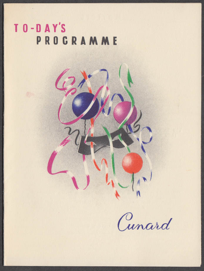 Cunard Line R M S Queen Elizabeth Programme of Events 8/11 1958