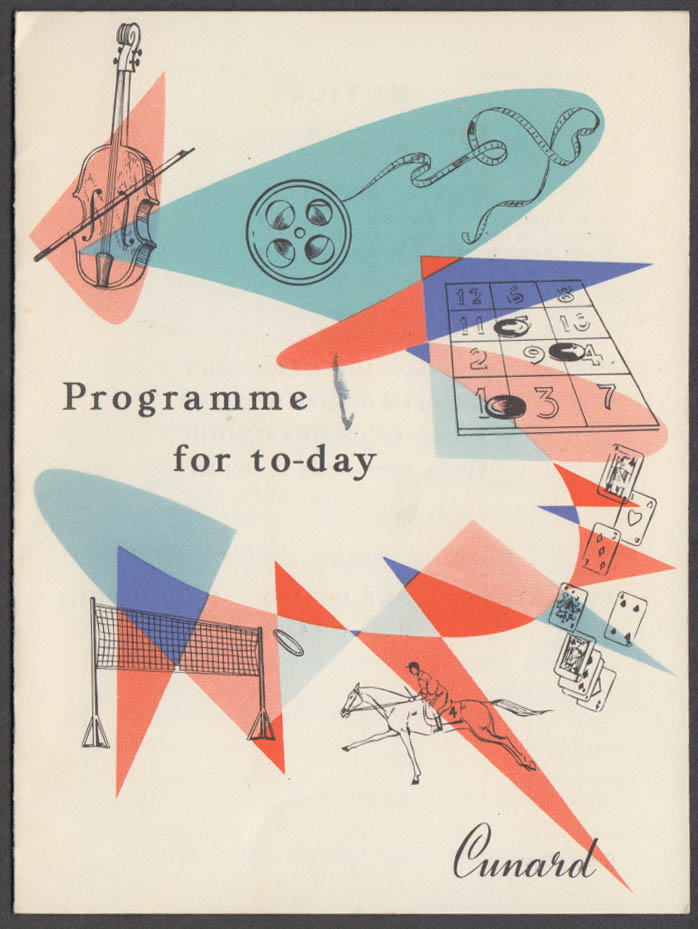 Cunard Line R M S Queen Mary Programme for To-Day 7/7 1958