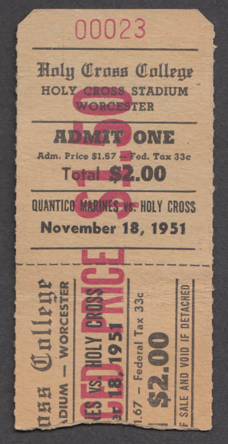 Holy Cross vs Quantico Marines College Football ticket stub 11/18 1951