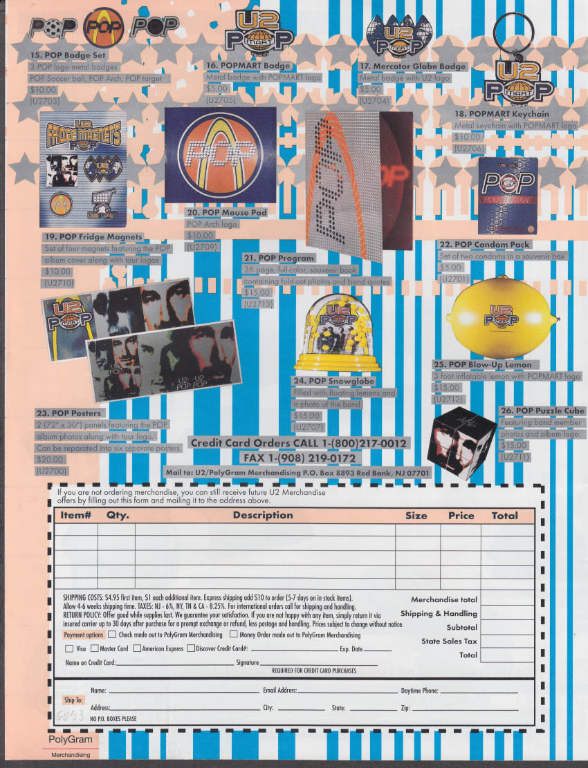 U2 POP MART Tour 97 Mail Order Offer catalog folder 1997