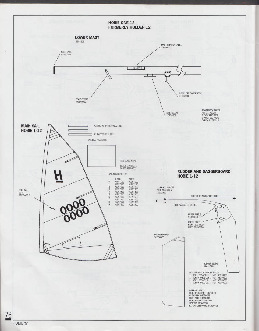 Hobie Cat Catalog 1991 Laser Sunfish Nacra Prindle Hobie