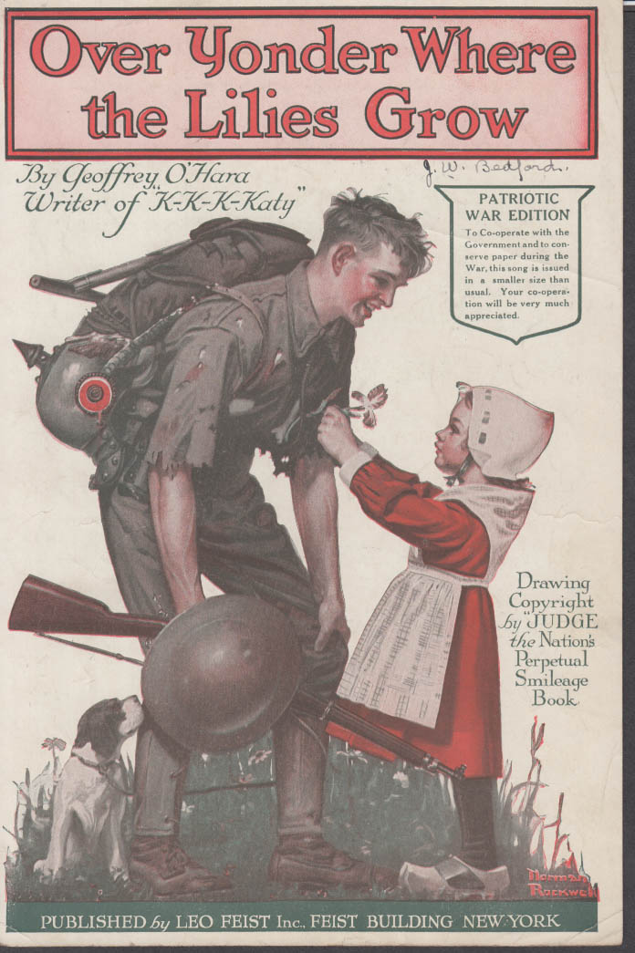 Over Yonder Where the Lilies Grow sheet music Norman Rockwell cover 1918