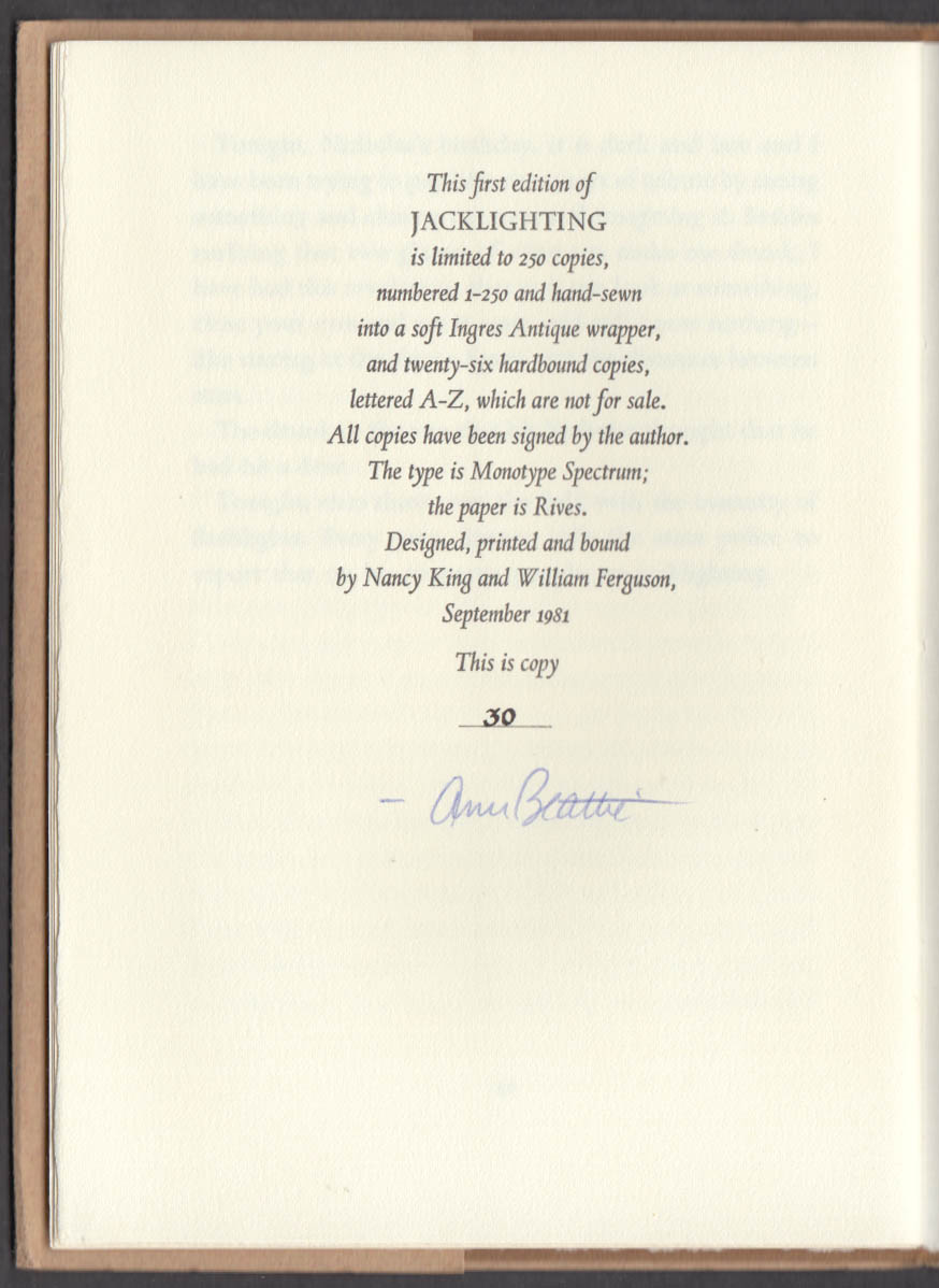Image for Ann Beattie SIGNED LIMITED Jacklighting 1981 Metacom Press #30 of 250 printed