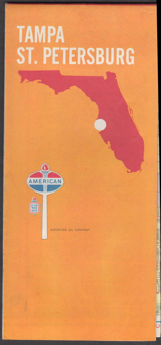 American Gasoline Road Map Tampa St Petersburg FL 1970