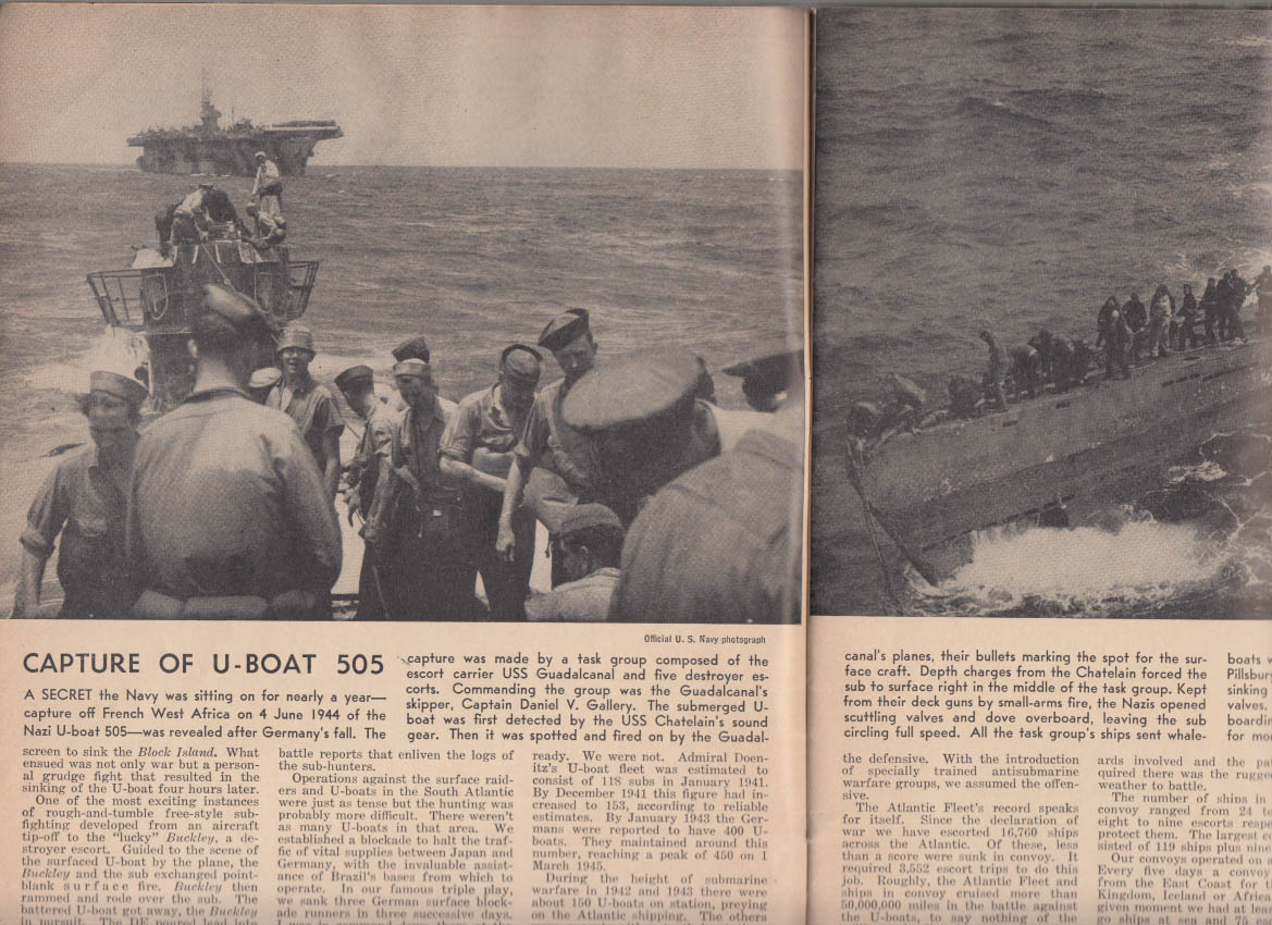 ALL HANDS Bur Nav Personnel Bulletin 6 1945 V-E Day, U-Boat 505; Kamikaze