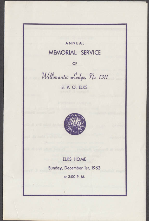 BPOE Elks Willimantic Lodge 1311 Memorial Service Program 1963 CT