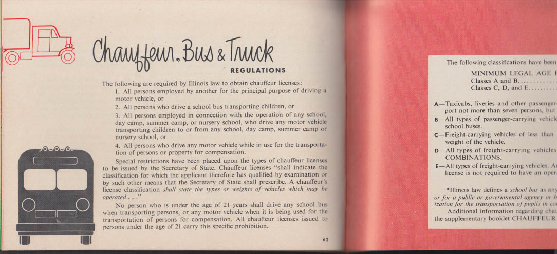 Illinois Rules of the Road booklet 1960 Driving Highway Laws Cars Trucks Buses