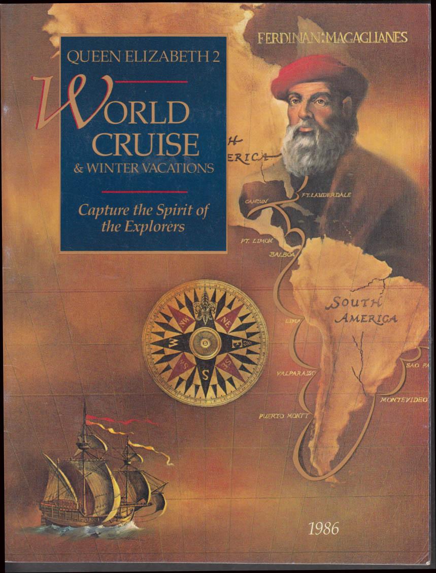 Cunard Queen Elizabeth 2 World Cruise & Winter Vacations brochure 1986