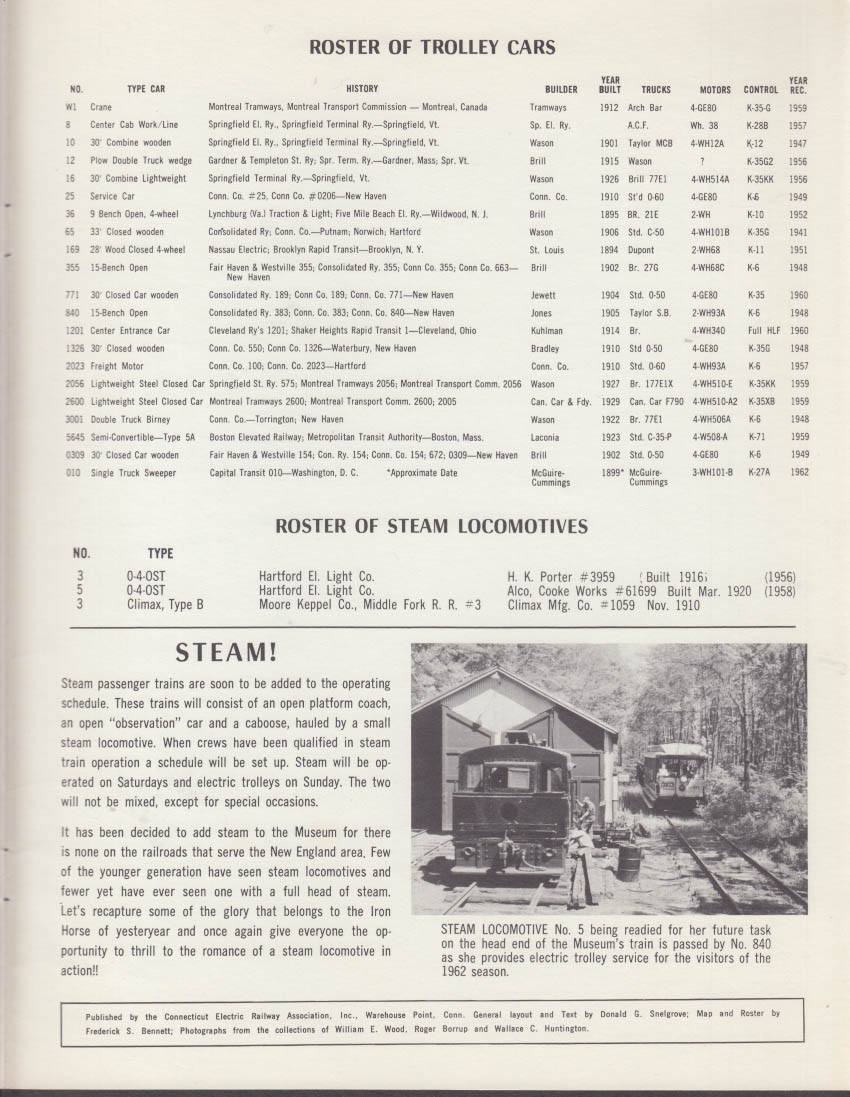 Connecticut Electric Railway Trolley Museum brochure Warehouse PT CT ca 1960s