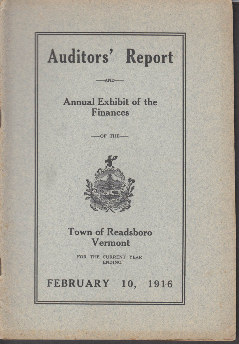 Annual Auditors Report Town of Readsboro VT 1916