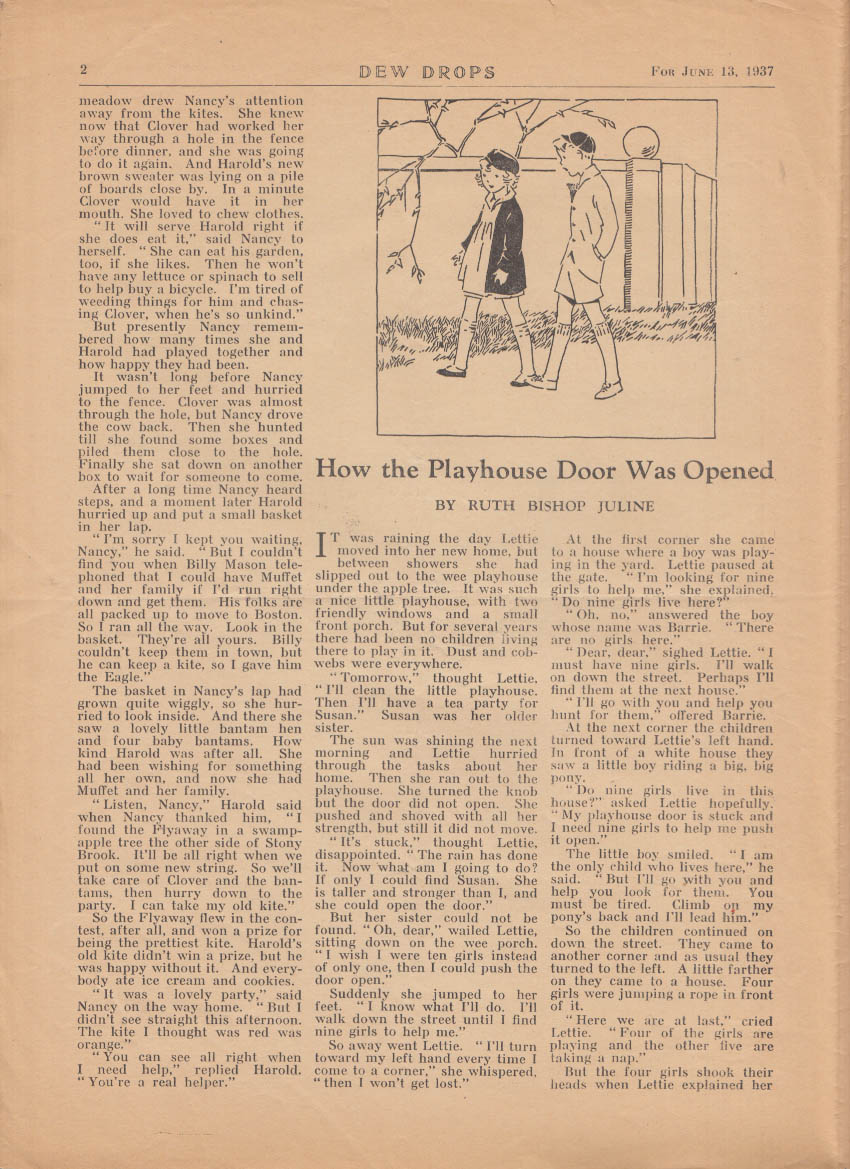 DEW DROPS religious children's weekly Elgin IL 6/13 1937 Flyaway & the Eagle