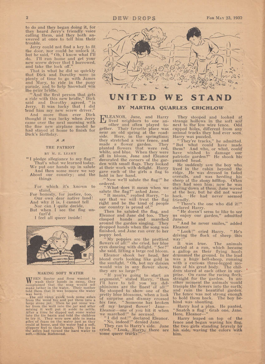 DEW DROPS religious children's weekly Elgin IL 5/23 1937 Door That Wouldn't Open